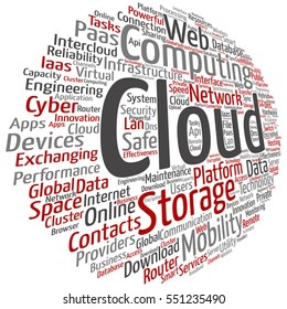 Vector concept conceptual web cloud computing technology abstract wordcloud isolated on background metaphor to communication, business, storage, service, internet, virtual, online, mobility hosting