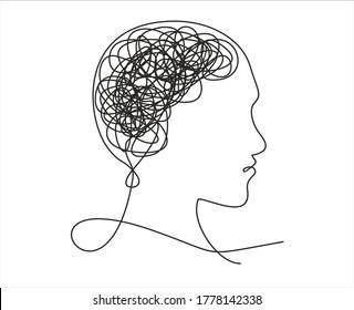 Vektor-Konzept-Verwirrung im Kopf.Eine kontinuierliche Zeichnung