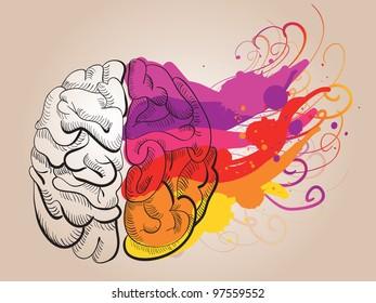 vector concept - creativity and brain