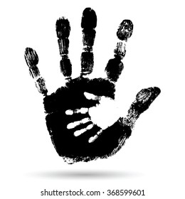 Vector Concept Cute Black Paint Hand Of Mother Child Handprint Isolated On White Background For Art