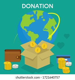 Vector concept design of donation boxes isolated cartoon flat style. Doctors and eardly people need donation of breathing respiratory face masks, antibacterial product and medicine. Social health care