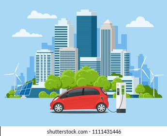 Vector concept eco-city and suburban life. Electric car charging at the charger station. Electromobility e-motion. Urban landscape.