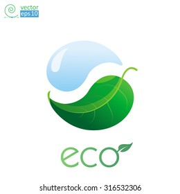 vector concept of eco-poster, postcards and T-shirts with a water drop and leaf stylized yin-yang.