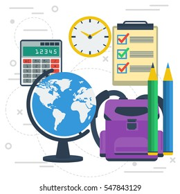 Vector concept education. Globe, calculator, lessons list and pencils. Other icons for studyng on white square line background. Banner for schools, universities or remote online training in flat style