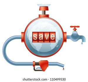 Vector concept of efficient energy use represented as a globe-shaped counter with the indication of Save on it