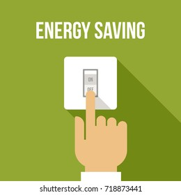 Vector concept of energy saving. Flat style.