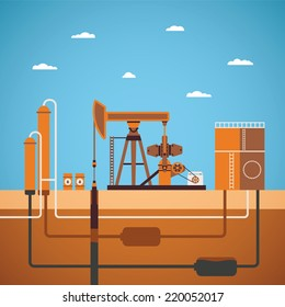 Vector concept of equipped oil well with pipes network tank and distillation column