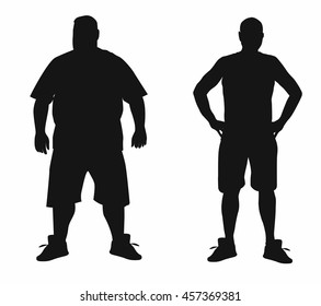 Vector concept  fat overweight vs slim fit diet with muscles young man silhouette isolated on white background for weight loss