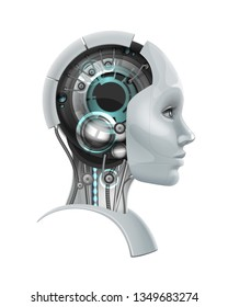Vector concept of fictional female cyborg head with a mechanism inside  in profile isolated on white background