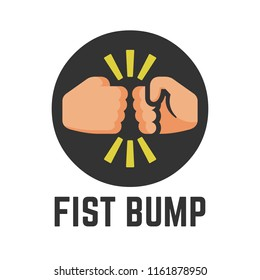Vector concept fist bump flat icon in round button of two power hand or together punch for business dispute, human clash and impact illustration.