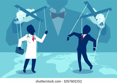 Vector concept flat style illustration of person manipulating doctor and insurance agent behind the scenes.
