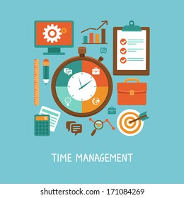 Vector concept in flat style - time management. Icons and signs - organizing life and workflow