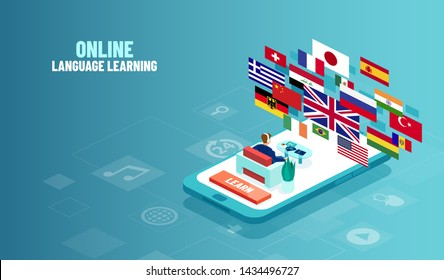 Vector concept of foreign language online study. Illustration of a man sitting on a smartphone using foreign language learning app