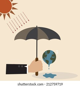 Vector concept of Hand with umbrella protect the Earth from sunray