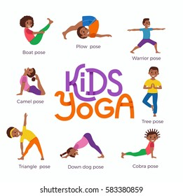 Vector concept happy African kids exercise poses and yoga asana for fitness design with cute logo. Cute cartoon gymnastics for children and healthy lifestyle sport illustration.