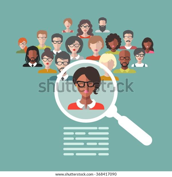 Concepto vectorial de gestión de recursos humanos, investigación profesional del personal, trabajo de cazador jefe con lupa. Ilustración HR en estilo plano. Hombres y mujeres se enfrentan a iconos de aplicaciones.