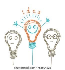 Vector concept of idea, brainstorm and teamwork. Light bulbs with character faces. Doodle cartoony sign. Cute linear design element. Simple hand drawn illustration for print, web