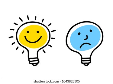 Vector concept of idea. Light bulbs with character faces. Doodle cartoony sign. Cute linear design element. Simple hand drawn illustration for print, web.