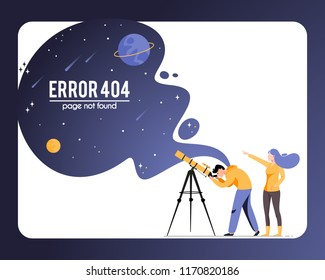 Vector concept illustration 404 error page not found in flat style. Woman and man with telescope in search of a star