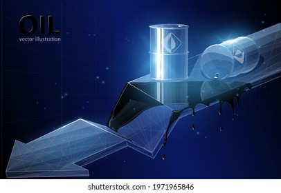 Vector concept illustration of a barrel with leaking oil and a descending graph of an arrow on a dark blue background, a symbol of world production and consumption of oil cheaper.