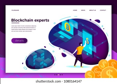 Vector concept illustration -  Blockchain process investments, man making money .Modern bright banner, site template with place for your text.
