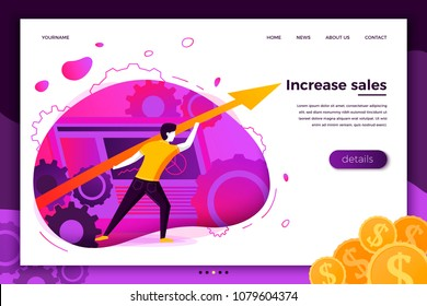 Vector concept illustration - business man with arrow going up, showing profit. Modern bright banner, site template with place for your text.