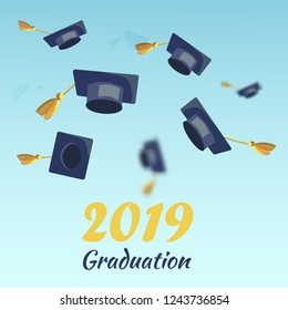 Vector Concept Illustration Cartoon Happy Students. Image Graduation Season 2019 Students. Set Thrown Up Academic Hat against Blue Sky. Celebrating University Graduation. Happy Graduates Institute