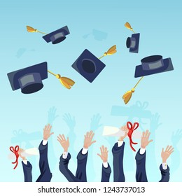 Vector Concept Illustration Cartoon Happy Students. Image Group Students Hand Throwing Up Academic Hat against Sky. Celebrating University Graduation. Happy Graduates Prestigious Institute