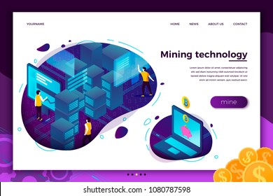 Vector concept illustration -  cryptocurrency mining process, people making money. Modern bright banner, site template with place for your text.