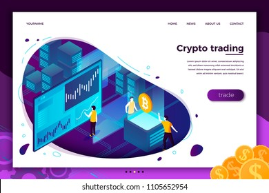Vector concept illustration -  cryptocurrency trading process, people making money. Modern bright banner, site template with place for your text.