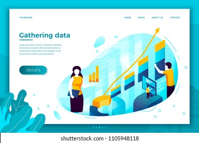 Vector concept illustration - data gathering service, showing profit infographic. Modern bright banner, site template with place for your text.
