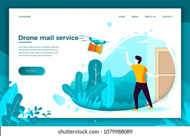 Vector concept illustration - drone mail service, man waiting for his parcel. Modern bright banner, site template with place for your text.