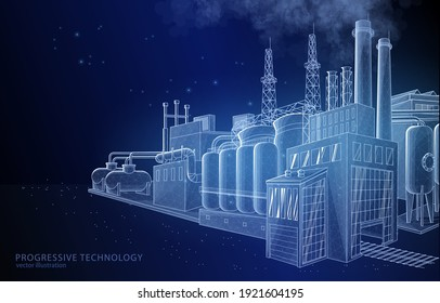 Vector concept illustration of a factory on a dark blue background, a symbol of industry, engineering, and manufacturing.