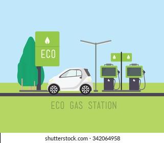Vector concept illustration, flat eco design. Green energy, urban landscape, windmill, car, ecology