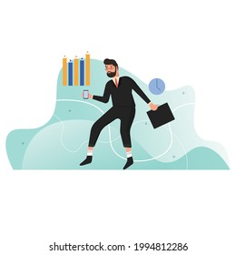 Vector concept illustration with flat man in a hurry to go to work. Landing page is good for hardworking, office worker lifestyle.