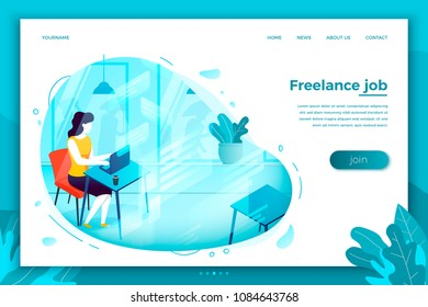 Vector concept illustration -  freelancer girl with notebook, easely working in cafe. Modern bright banner, site template with place for your text.