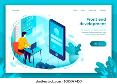 Vector concept illustration -  front end developer working on notebook, create mobile application. Modern bright banner, site template with place for your text.