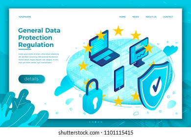 Vector concept illustration -  General Data Protection Regulation. Modern bright banner, site template with place for your text.