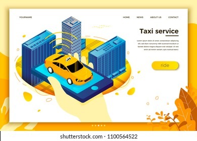 Vector concept illustration -  hand with mobile phone, searching for taxi. Modern bright banner, site template with place for your text.