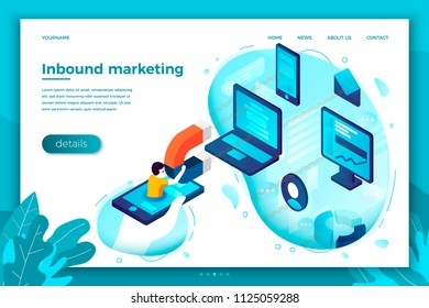Vector concept illustration - inbound marketing, man with magnet. Modern bright banner, site template with place for your text.