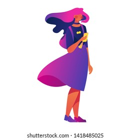 Vector concept illustration with lovely young woman character drawn in vivid bright gradients with a smartphone in hands.