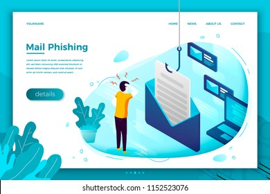 Vector concept illustration - mail phishing, stressed man holding his head. Modern bright banner, site template with place for your text.