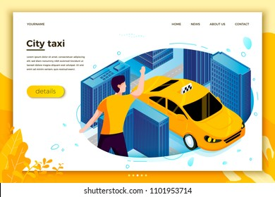 Vector concept illustration - man catching taxi cab. Modern bright banner, site template with place for your text.