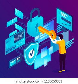 Vector concept illustration -  man with key and lock, Data Protection. Modern bright banner template with place for your text.