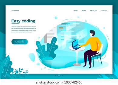 Vector concept illustration -  man with notebook, easely working with code. Modern bright banner, site template with place for your text.