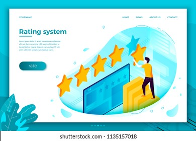 Vector concept illustration -  man with stars, rating system. Modern bright banner, site template with place for your text.