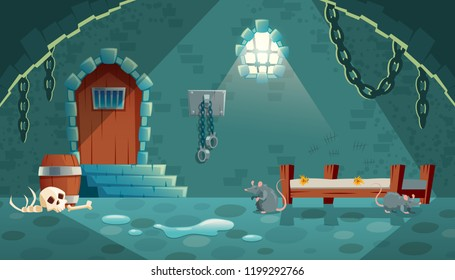 Vector concept illustration with medieval prison cell for criminals. Castle dungeon, room for prisoners, interior with iron shackles on stone walls, empty bunks and rats. Cartoon game background