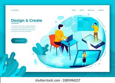 Vector concept illustration -  motion design studio working process, create, work and earn. Modern bright banner, site template with place for your text.