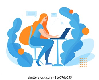 Vector concept illustration with office women. Business image with woman working on computer.