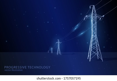 Vector concept illustration, on dark blue background with stars, line of electric pylons, symbol of electricity, modernization and progress.